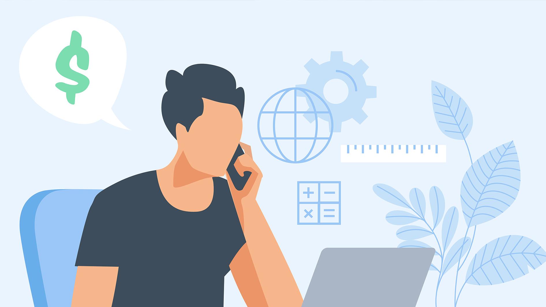 Illustration d'un homme discutant d'argent au téléphone devant son ordinateur portable