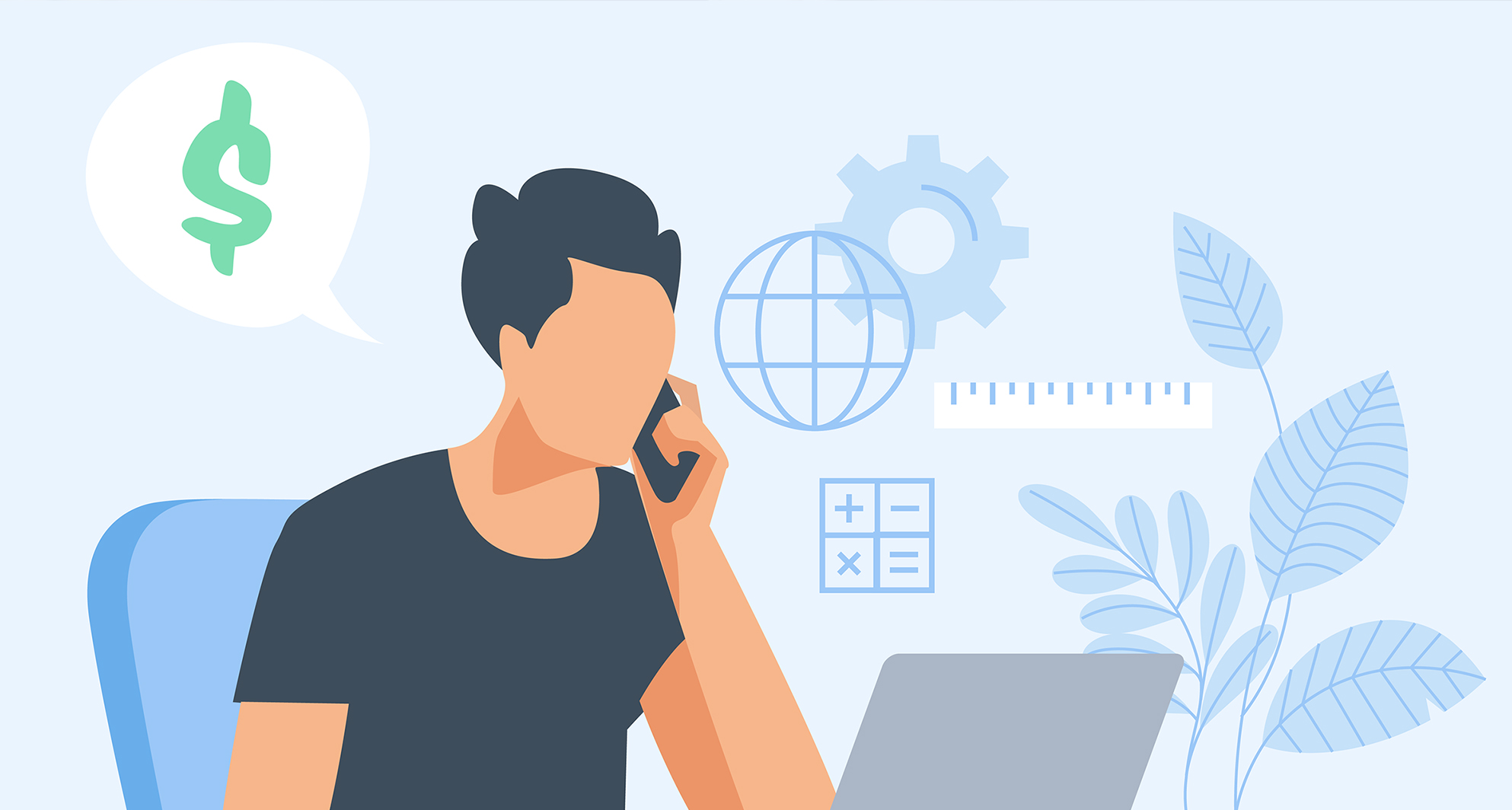 Vector illustration of a man discussing money on the phone while on his computer