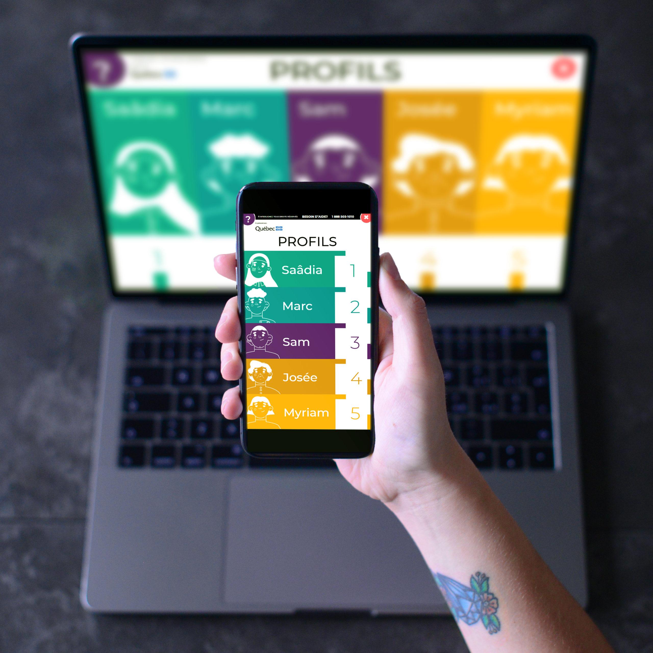 Aperçu du projet en collaboration avec Interligne sur mobile et ordinateur